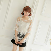 Sweet lady flowers hollow wave hem lace shirt