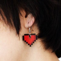 ShanaLogic.com - 100% Handmade  Independent Design! 8-bit Heart Earrings - New Arrivals