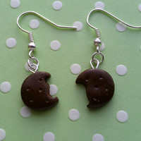 Girl Scout Cookie Charm Earrings - Thin Mints - Handmade by Starfall at Dusk