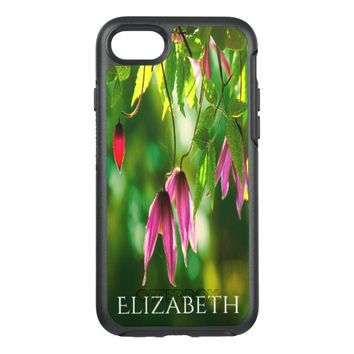 Peaceful purple flowers and green leaves name OtterBox symmetry iPhone 7 case