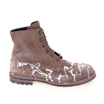 Dolce & Gabbana Beige Leather Paint Boots Shoes