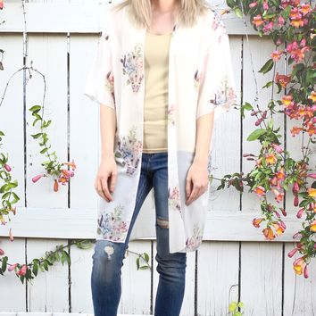 Long Floral Crown + Bull Skull Printed Kimono {Off White}