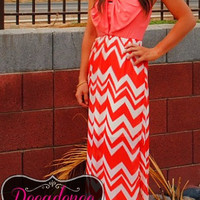 BOW TIE AFFAIR CORAL MAXI DRESS