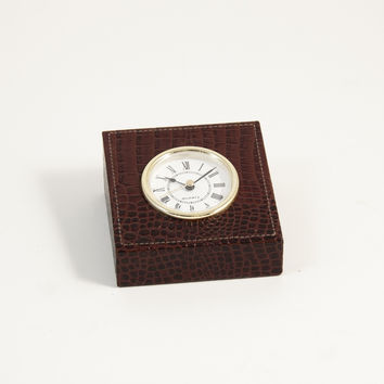"Clock, Brown ""Croco"" Leather, T.P."
