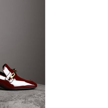 Link Detail Patent Leather Block-heel Loafers in Burgundy Red - Women | Burberry United States