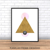 Triangles, Abstract Art Print, Printable Wall Art, Scandinavian Design, Mid Century Modern, Geometric Art, Minimalist Art, Instant Download