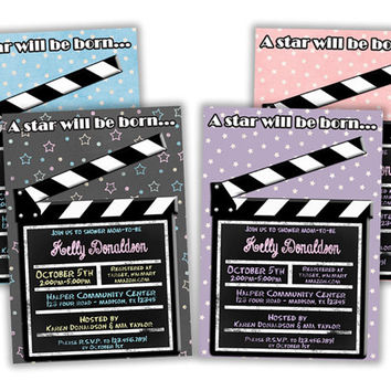 Hollywood Baby Shower Invitations - Boy Baby Shower - Girl Baby Shower Invites - Neutral - Twins - Pink - Blue - Black - Star Born