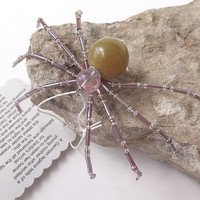 Very Pretty Beaded Christmas Spider Ornament -- Purple/Yellow/Clear