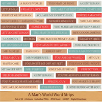 A Mans World Word Strips Word Stash Gentleman Word Phrases Word Art Little Gentleman Digital Scrapbooking Word Clipart Red and Blue Clip Art