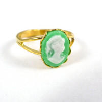 Sweet Mint Cameo Ring, VIntage Gold Ring Setting, Mint Green Cameo, Handmade Jewelry