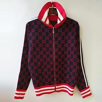 GUCCI Popular Leisure Double G Jacquard Letter Zipper Long Sleeve Knit Top Cardigan Sweater Blouse Coat Red