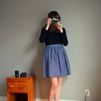 Navy Polka Dot A-line Skirt. Vintage Inspired. Made to Order. XS - L.