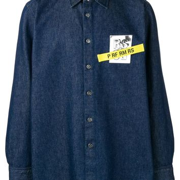 Blue Denim Chest Patch Button-Up Shirt by Raf Simons