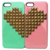 Couple Case,DIY Punk Style Mobile Phone Protective Skin for iphone 4 4s Skin with Gold Studs and Spikes Case Cove IP5-23