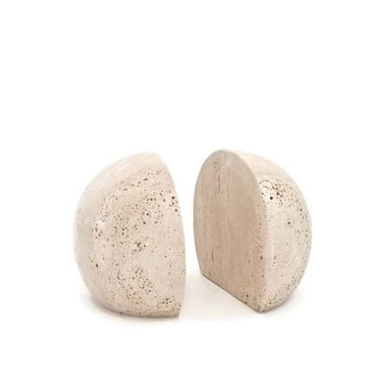Raymor Travertine Half Moon Book Ends Fili Mannelli