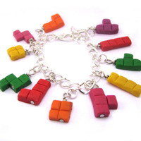 Tetris charm bracelet gamer bracelet geekery by Mandyscharms