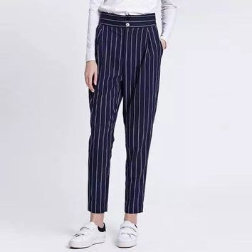 2016 Spring New Arrival Women Fashion Long Pants Harem Pantalon Loose Striped Suits Pants