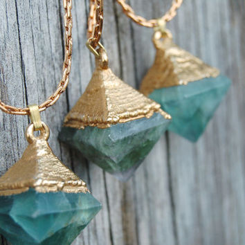 Gold Dipped Flourite Octahedron Crystal Necklace - Bohemian Gypsy Jewelry - Statement Necklace