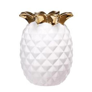 """Ceramic Pineapple Vase in White and Metallic Gold - 5.25"""" Tall"""