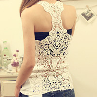 Stylish Korean Hollow Out Camisole See Through Backless Bottoming Shirt [4966076996]