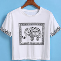 White Short Sleeve Elephant Print Crop T-Shirt -SheIn(Sheinside)