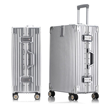 "20""24""26""29 Aluminum frame&Drawbars scratch-resistant matte wrap angle vintage rolling luggage trolley suitcase with wheels"