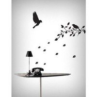 Flying Birds & Tree Removable Vinyl Home Wall Art Sticker Decals