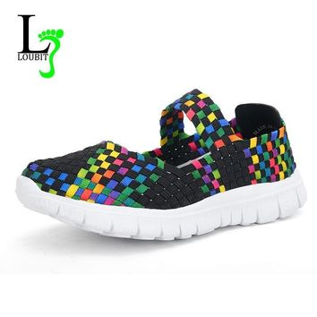 Women Woven Shoes 2017 Summer Breathable Handmade Shoes Fashion Comfortable Women Flat