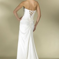 Taffeta A-line Gown Tie-Back with Modesty Panel Sweep Train YSPWD0033 - Wedding Dresses - Wedding Apparel