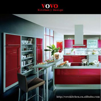 2016 latest design high gloss red lacquer kitchen cabinet