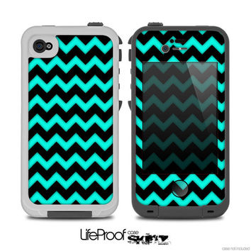 The Tiffany Blue & Black Chevron Pattern Print Skin for the iPhone 4/4s or 5 LifeProof Case