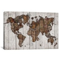 iCanvas 'Wood Map - Maximilian San' Giclee Print Canvas Art