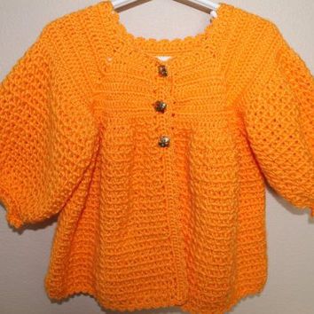 Baby Sweater Coat - 12 to 18 Months - Orange Baby Sweater  - Handmade Crochet - Ready to Ship