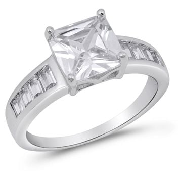 Sterling Silver 3 Carat Princess Cut Cubic Zirconia Ring with Channel Set Graduating Baguette Stones
