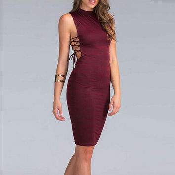 Sexy Bandage Night Clubwear Dress Side Cross Tie Up Women Summer Dress Bodycon Party Dresses Casual Sleeveless Vestido De Festa