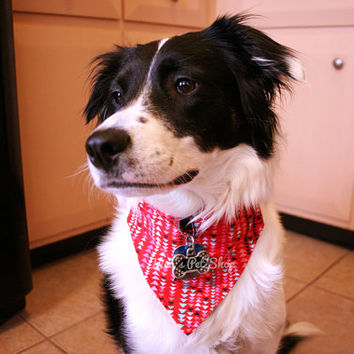 Handmade Dog Bandana with Space for Tags - Red with Arrows Velcro Over the Collar Dog Bandanna w ID Tag Slot Pet Accessories Dog Accessory