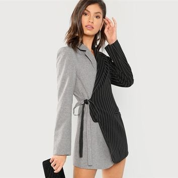 Women Blazers And Jackets Colorblock Tie Waist Surplice Wrap Womens Blazer Notched Outerwear Ladies Long Coat