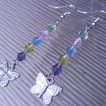 Multicolor bicon bead earrings with silver butterfly dangle