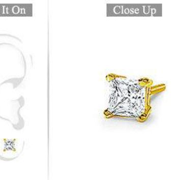 Mens 18K Yellow Gold : Princess Cut Diamond Stud Earring - 0.75 CT. TW.