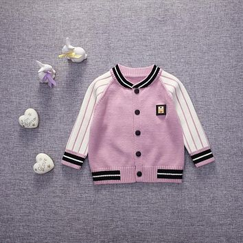 Baby coat 2016 new spring autumn children's baby girls coat casual baseball baby jackets rabbit striped newborn Knitted cardigan