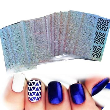 24 Sheet/sets DIY Nail Vinyls 24sylesHollow Irregular Stencils Stamp Nail Art DIY Manicure Sticker Laser Silver  STZK01-24