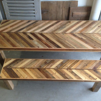 Reclaimed Pallet and Barn Wood Kitchen Table with Matching Bench Chevron Dining