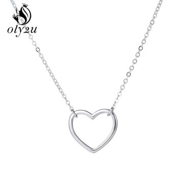 Oly2u  New Lovely Heart Simple  Necklace Fashion Cute Hallow Heart  Pendant Women Necklace Jewelry Christmas Gifts SYXL093