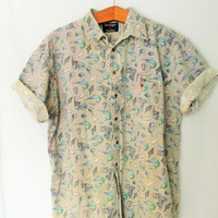 Vintage 1990s Short Sleeve All Over Seashell Print Button Down