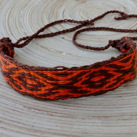 Table weaving bracelet, card weave cotton braclet, woven men bracalet, native american wrist band, hipster arm band, handmade boho jewelry