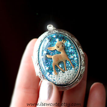 Resin Jewelry, Deer Locket, Winter Fashion for Her, Holiday Gift Idea for Her - Vintage Deer, Cameo Locket Necklace, Keepsake by isewcute