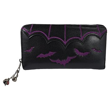 Gothic Witch Gotham Knight Bat Attack Bat Logo Zip Around Wallet