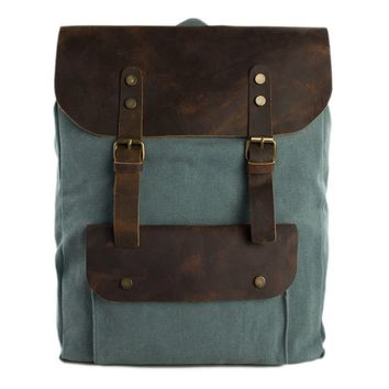 BLUESEBE UNISEX WAXED CANVAS WITH LEATHER BACKPACK 6876A-OG
