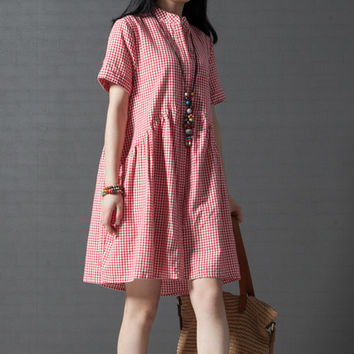 new summer women's clothing loose plus size fashion plaid short-sleeve one-piece dress casual cotton linen dresses M220