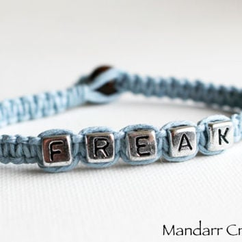 CLEARANCE SALE - Light Blue Freak Bracelet, Hand Knotted Quirky Friendship Gift, Best Friends, Gift for Her, Nerd, Stay Weird